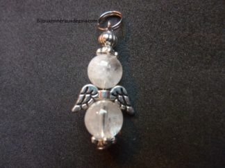 Pendentif ange pierre de lune perles rondes 8 mm
