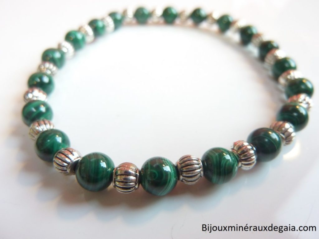 Bracelet malachite : perles rondes 6 mm