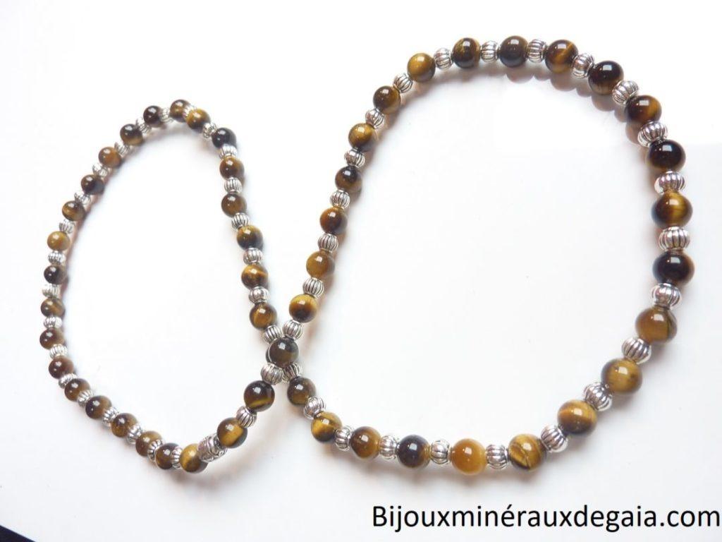 Collier oeil de tigre : perles rondes 6 mm