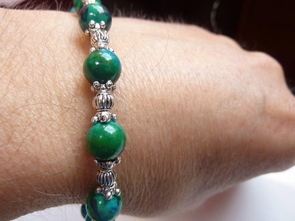 Bracelet azurite chrysocolle perles rondes à 8mm et argent plaqué