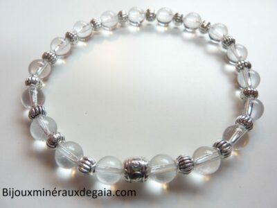 Bracelet quartz cristal de roche perles rondes 6mm argent plaqué