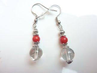 Boucles d'oreilles corail rouge et quartz cristal de roche
