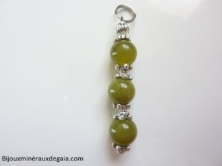 Pendentif protection-fatigue Peridot perles 8 mm