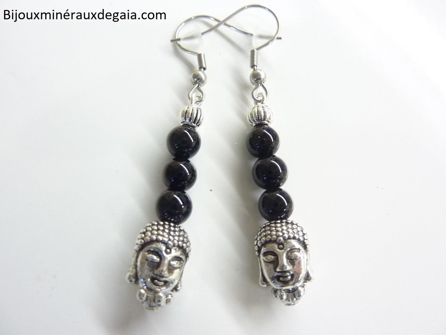 Boucles d'oreilles protection Bouddha Tourmaline noir