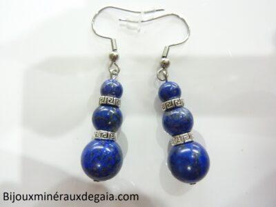 Boucles d'oreilles lapis lazuli et plaqué argent