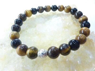 Bracelet oeil de tigre-tourmaline noire