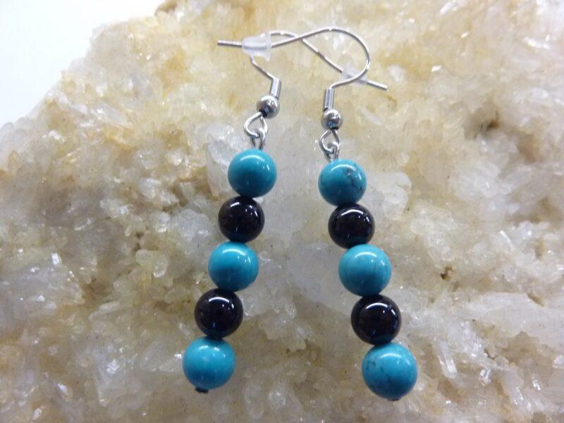 Boucles d'oreilles turquoise-tourmaline noir