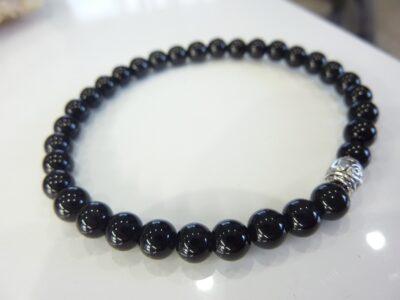 Bracelet tourmaline noire perles rondes 6 mm