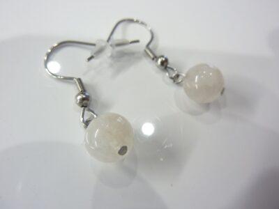 Boucles d'oreilles pierre de lune - perles rondes 8 mm