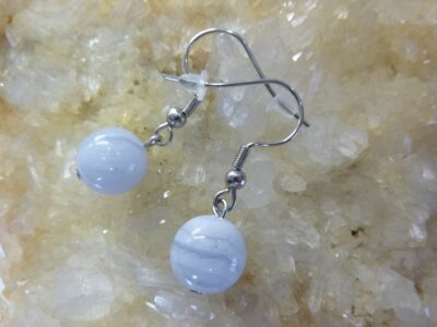 Boucles d'oreilles en pierre naturelle en calcédoine bleue perles rondes 10mm