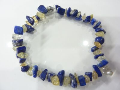 Bracelet citrine et lapis lazuli perles multiformes 6-10mm