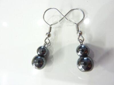 Boucles d'oreilles en hématite perles rondes 8-6mm
