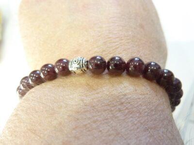 Bracelet grenat almandin perles rondes 6 mm