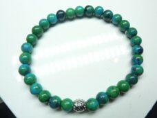 Bracelet azurite chrysocolle perles rondes 6mm