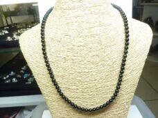 Collier extensible en tourmaline noire perles rondes 6mm