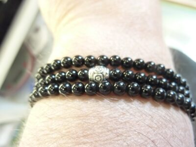 Collier extensible en tourmaline noire perles rondes 4mm