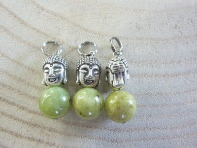 Pendentif Péridot Bouddha - perles rondes 10 mm