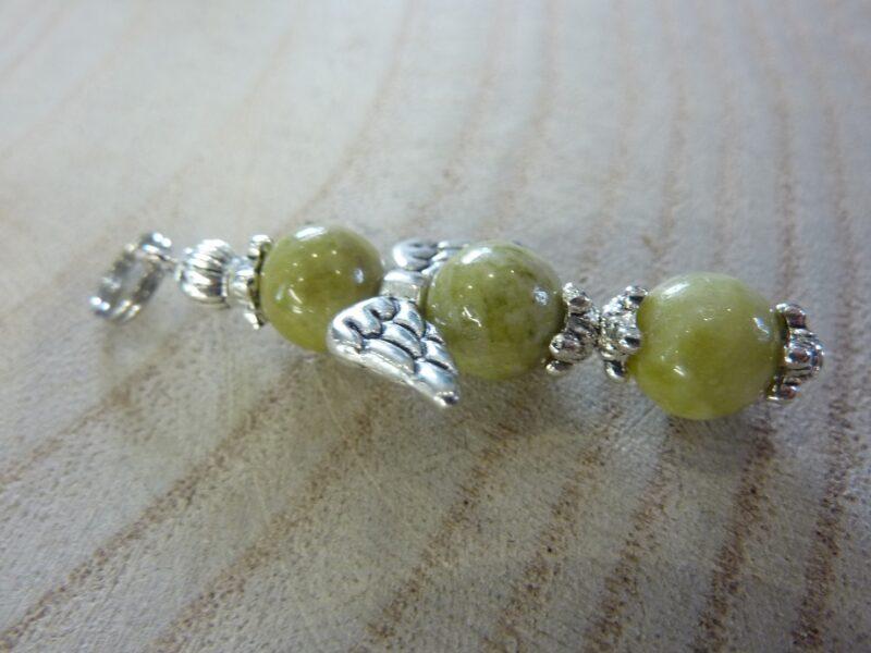 Pendentif Péridot croix ange - Perles rondes 8 mm