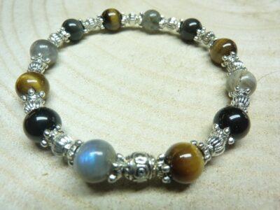 Bracelet Oeil de tigre-Labradorite-Obsidienne oeil celeste - Perles rondes 8 mm