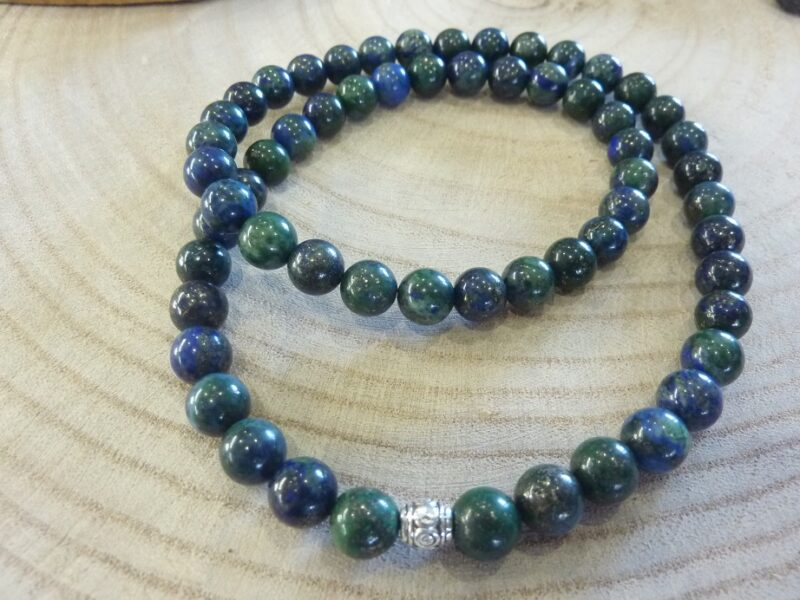 Collier azurite chrysocolle perles rondes 8mm