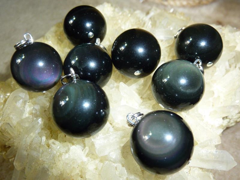 Pendentif obsidienne oeil celeste sphere 1,6 cm a l'unité