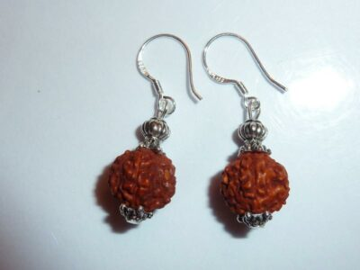 Boucles d'oreilles Rudraksha perles 10 mm