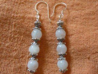 Boucles d'oreilles pierre de lune perles rondes 6mm