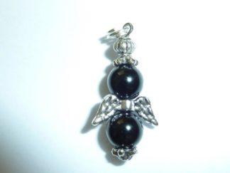 Pendentif Spinelle noir perles rondes 8 mm