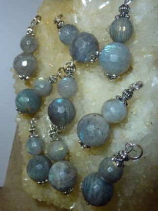 Pendentif protection labradorite perles à facettes 1,4 cm 1 cm