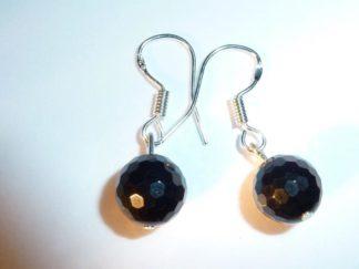 Boucles d'oreilles spinelle noir qualité AA perles rondes à facettes 8 mm