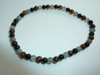 Bracelet protection extreme: Oeil de tigre,Labradorite,obsidienne oeil celeste perles rondes 4 mm