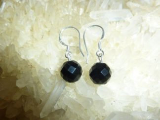 Boucles d'oreilles Obsidienne oeil céleste - perles à facettes 8 mm
