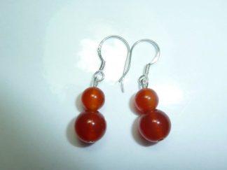 Boucles d'oreilles cornaline perles rondes 8-6mm
