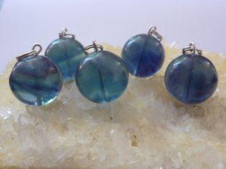 Pendentif en pierres naturelles fluorite bleu verte perle ronde 16mm