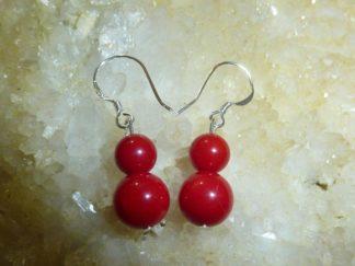 Boucles d'oreilles corail rouge perles rondes 8-6mm