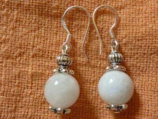 Boucles d'oreilles pierre de lune perles rondes 10 mm
