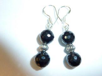 Boucles d'oreilles spinelle noir - Perles à facettes 8 mm