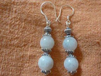 Boucles d'oreilles pierre de lune perles rondes 8mm