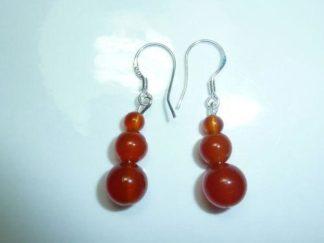 Boucles d'oreilles cornaline perles rondes 8-6-4 mm