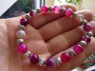 Bracelet agate rubanée rose - Perles rondes 8 mm