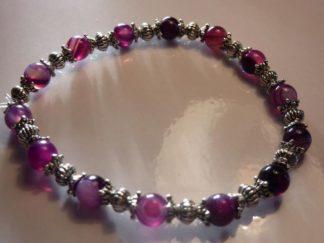 Bracelet agate rubanée violet