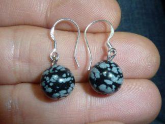Boucles d'oreilles obsidienne neige