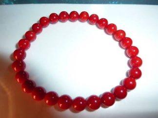 Bracelet en corail rouge perles rondes 6mm