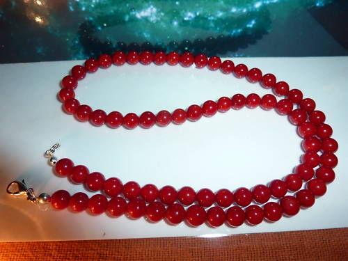 Collier en perles rondes 6 mm de corail rouge