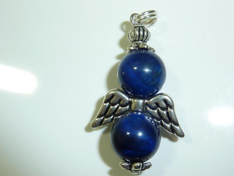 Pendentif ailes d'ange en pierres naturelles oeil de faucon perles rondes 10mm