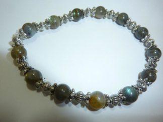 Bracelets labradorite perles 7mm et argent plaqué