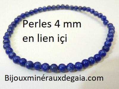 Bracelet lapis lazuli perles rondes 4 mm