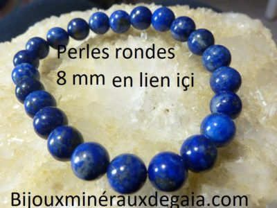 Bracelet lapis lazuli perles rondes 8 mm