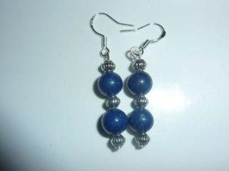 Boucles d'oreilles lapis lazuli-Perles rondes 8 mm