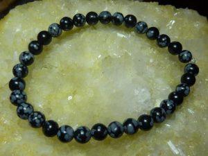 Bracelet Obsidienne neige - Perles rondes de 4 mm